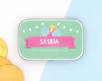Girl's Personalised Tooth Fairy Tin