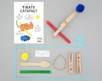 Make Your Own Pirate Catapult Kits - Perfect for Party Bags, Party Favor, Pirate Birthday, Craft, DIY, Pirate, Pirate Party Bags