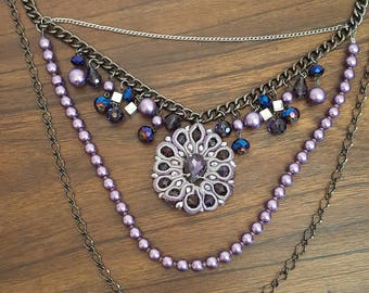 Very Large Glass Beaded Statement Necklace, Very Pretty Purples & Blues.