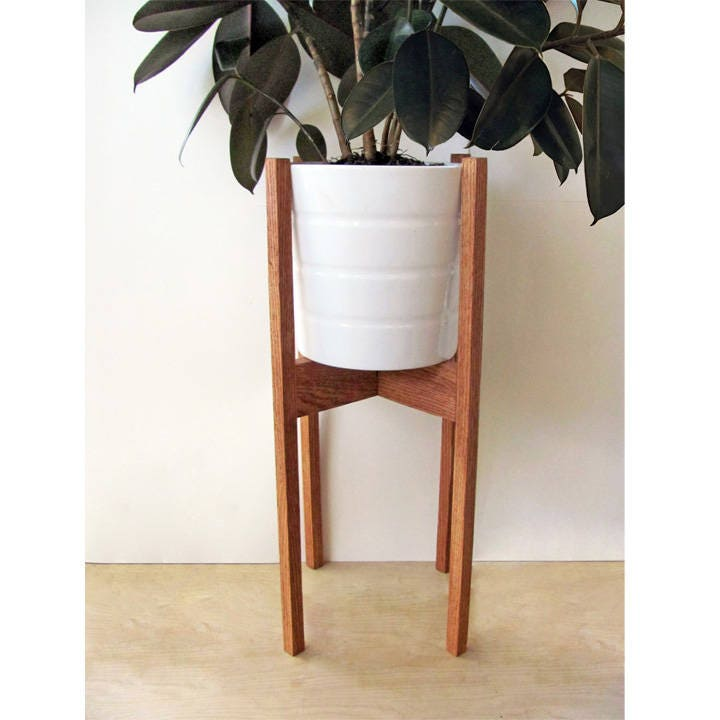 large mid century modern plant stand square legs oak wood etsy. Black Bedroom Furniture Sets. Home Design Ideas