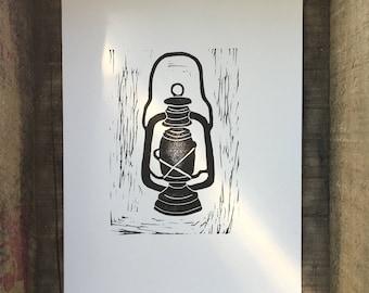 Lantern Linocut Print