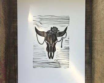 Bull Skull Linocut Print