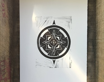 Compass Linocut Print
