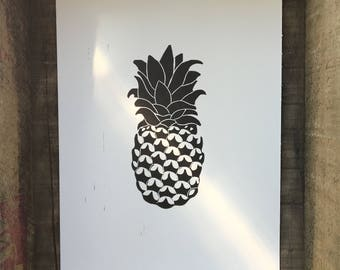 Pineapple Linocut Print