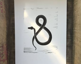 Snake Linocut Print