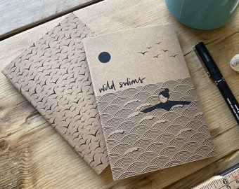 Wild swim and seagulls – set of 2 A6 notebooks / sketchbooks made from recycled paper – perfect gift, swim journal, illustrated present