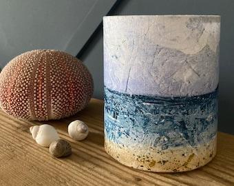 Fabric lantern –  Cornish seascape – organic cotton handmade lampshade for fairy lights or battery operated tea light – lovely night light