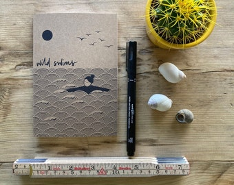 Wild swim individual A6 notebook/sketchbook made from recycled paper – perfect gift, sea swimmer, swim journal