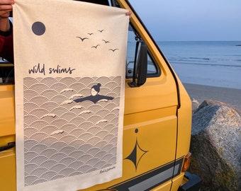 Wild swim tea towel, organic cotton, screen printed, large size with hanging loop.