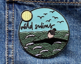 Wild swim embroidered badge, iron on patch, sew on patch