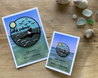 Bundle: Wild swim enamel pin and embroidered patch badge set