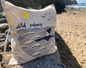 Wild swim screen printed cotton tote bag, reusable shopping bag