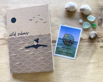 Bundle: Wild swim enamel pin and notebook