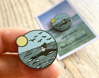 Wild swim enamel pin, hard enamel black nickel pin badge