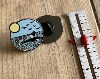 SLIGHT SECONDS Wild swim enamel pin, hard enamel black nickel pin badge