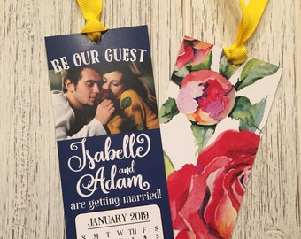 Save the date bookmark, beauty and the beast, blue and gold, handmade bookmark, custom bookmark