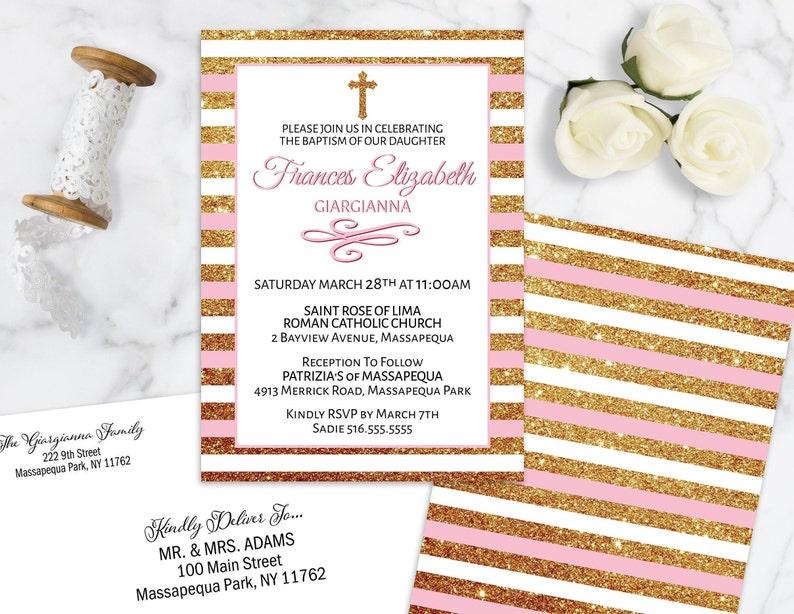 Baptism Invitation Printed or Printable Pink Girls Christening Invitation Glitter