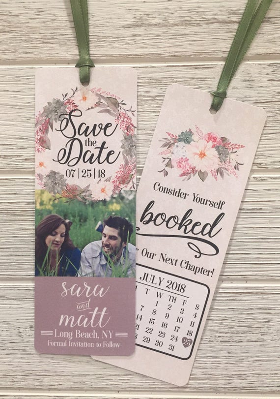 bookmark save the date  Customized Save The Date Bookmark Save The Date Bookmark | Etsy