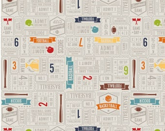 Game Day -Tickets Gray-  Cotton Fabric - Riley Blake Fabrics - Perfect for Quilting, Nursery, Kids Clothing, Boy Fabric