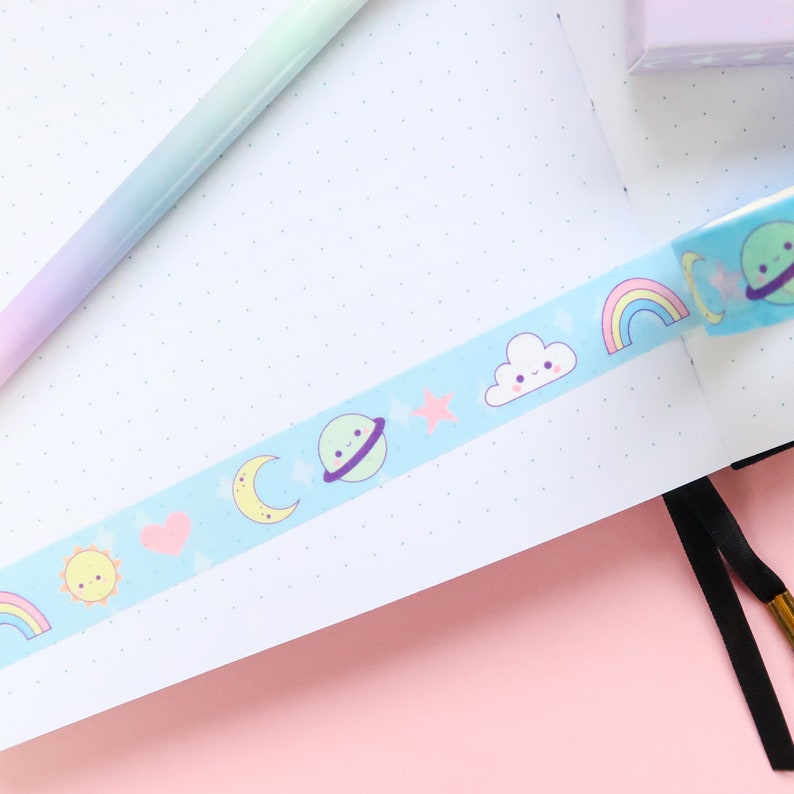 sun cloud kawaii sky star planner accessories scrap booking kawaii rainbow Kawaii Sky Washi Tape planet crafting space weather