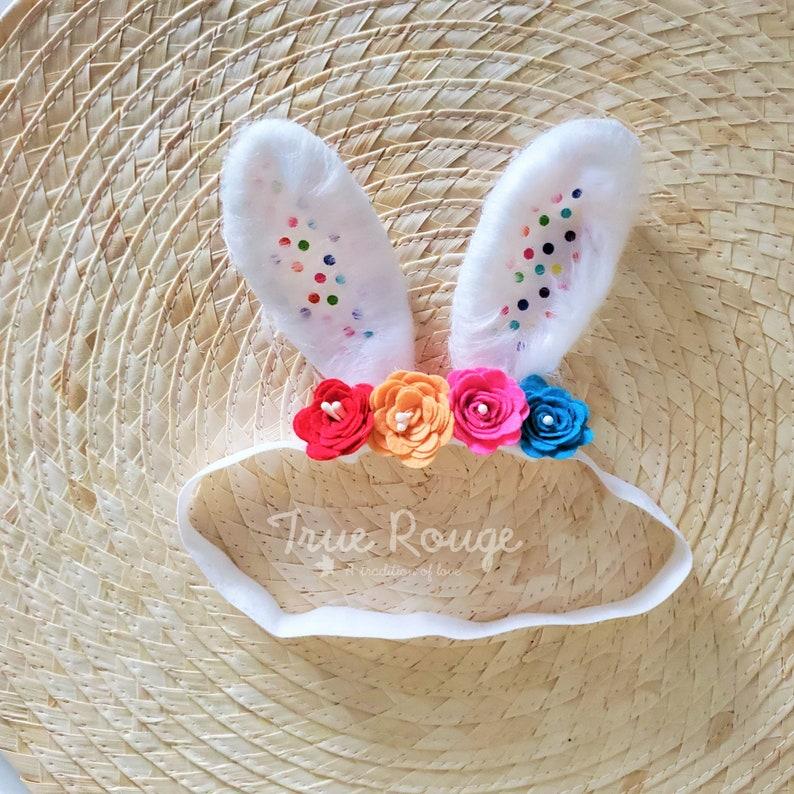 Bunny Ears Easter Headband  Confetti Style  Ready-to-ship image 0