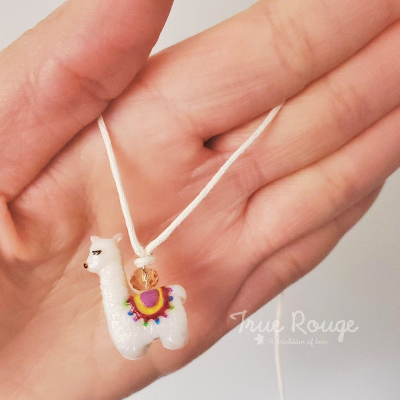 One-sided tiny Llama Charm Necklace Polymer Clay for Girls image 0