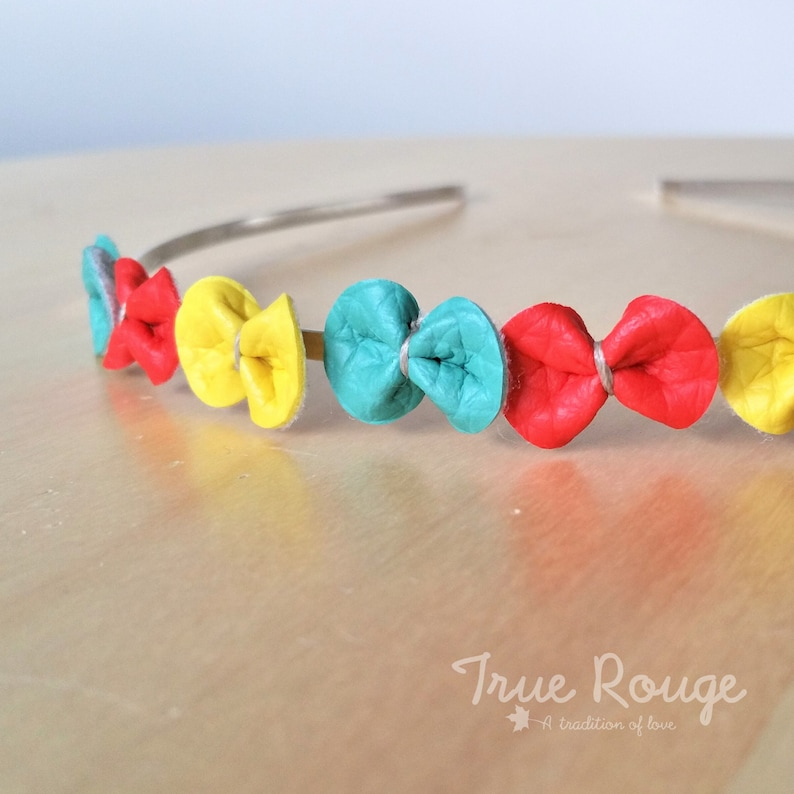 Colorful tiny Bows Headband Mint-Red-Yellow image 0