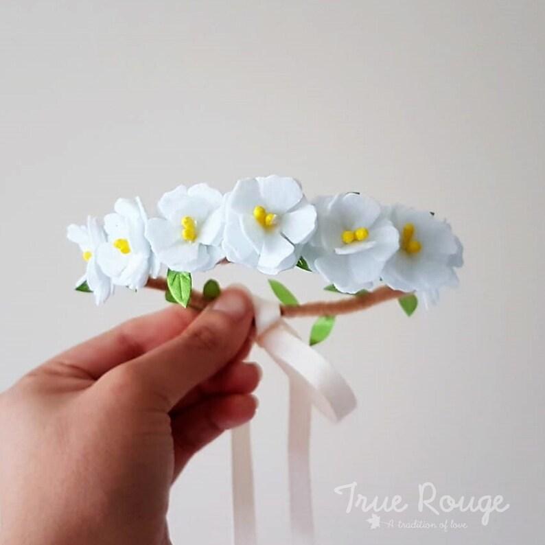 White peonies Flower Crown image 0