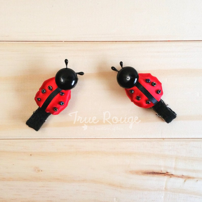 Nature-inspired itty-bitty Ladybug hair clips / pigtail clips 2 hair clips
