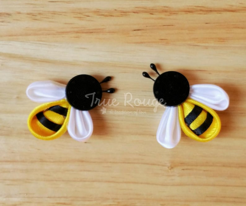 Nature-inspired itty-bitty bee hair Clips / pigtail clips image 0