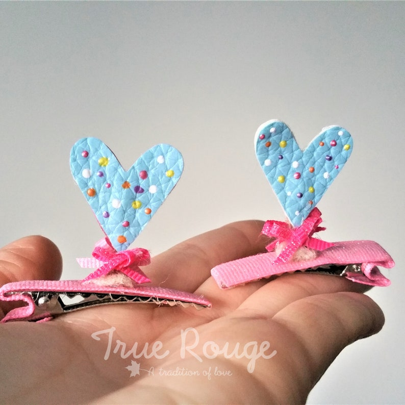 Double sided confetti heart ears hair clip Set of 2 image 0