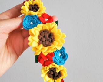 Sunflower Felt Flower Crown Headband