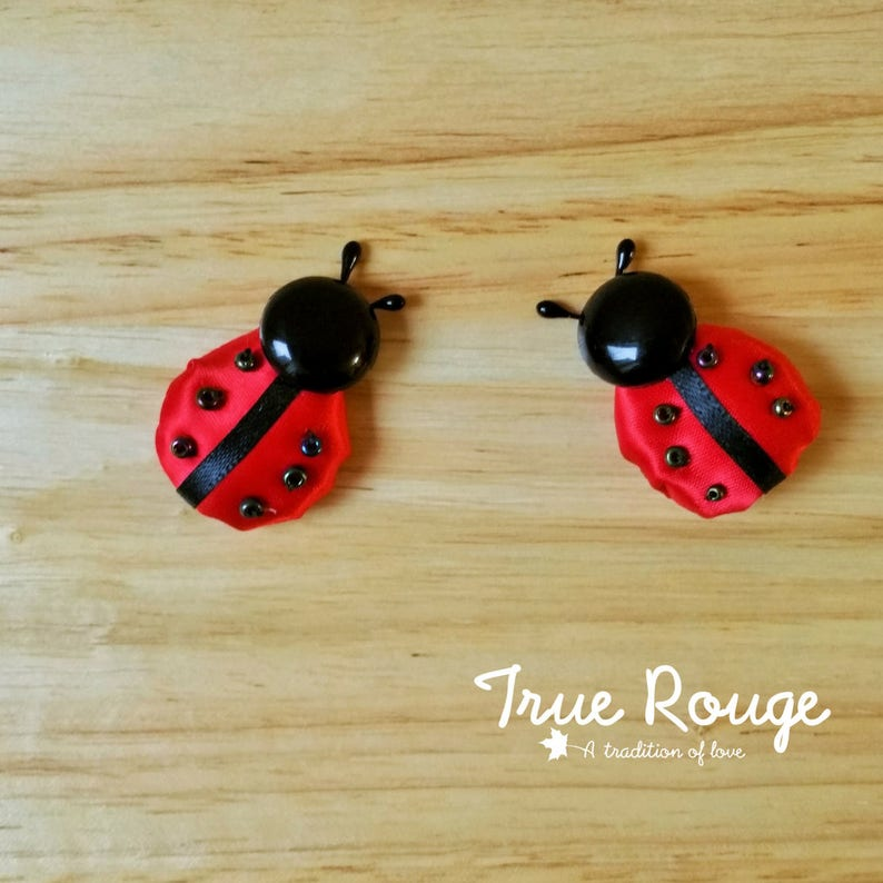 Nature-inspired itty-bitty Ladybug hair clips / pigtail clips image 0