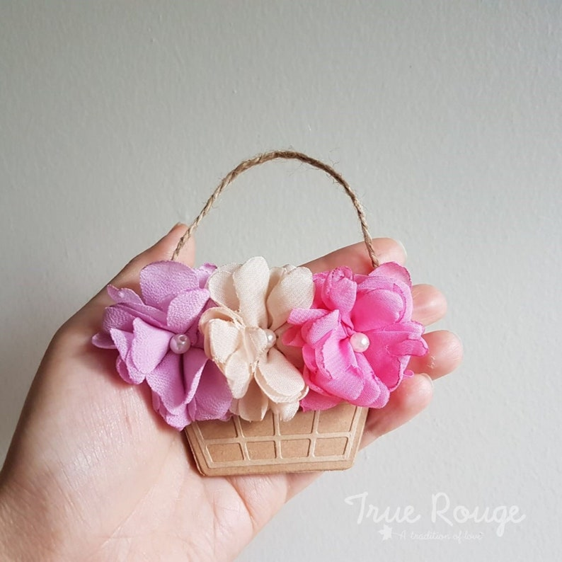 Mini basket of 3 fabric flowers pigtail clips  Best stocking Lilac, nude, pink