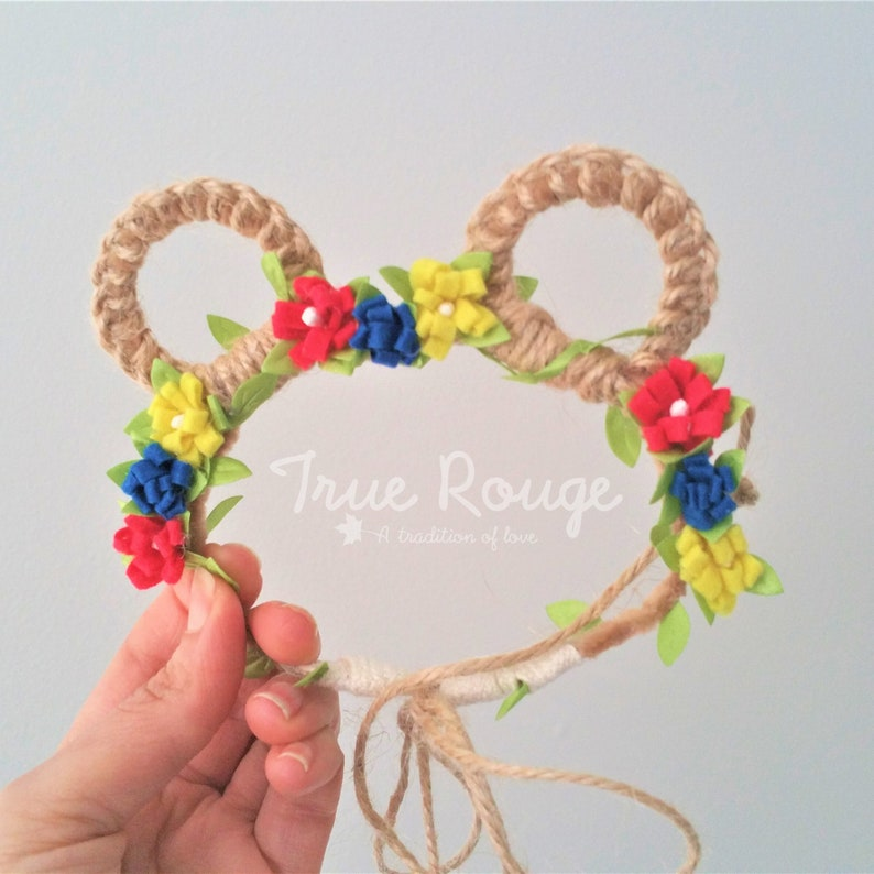 A very rustic Baby Bear ears Flower Crown  Ready-to-ship image 0