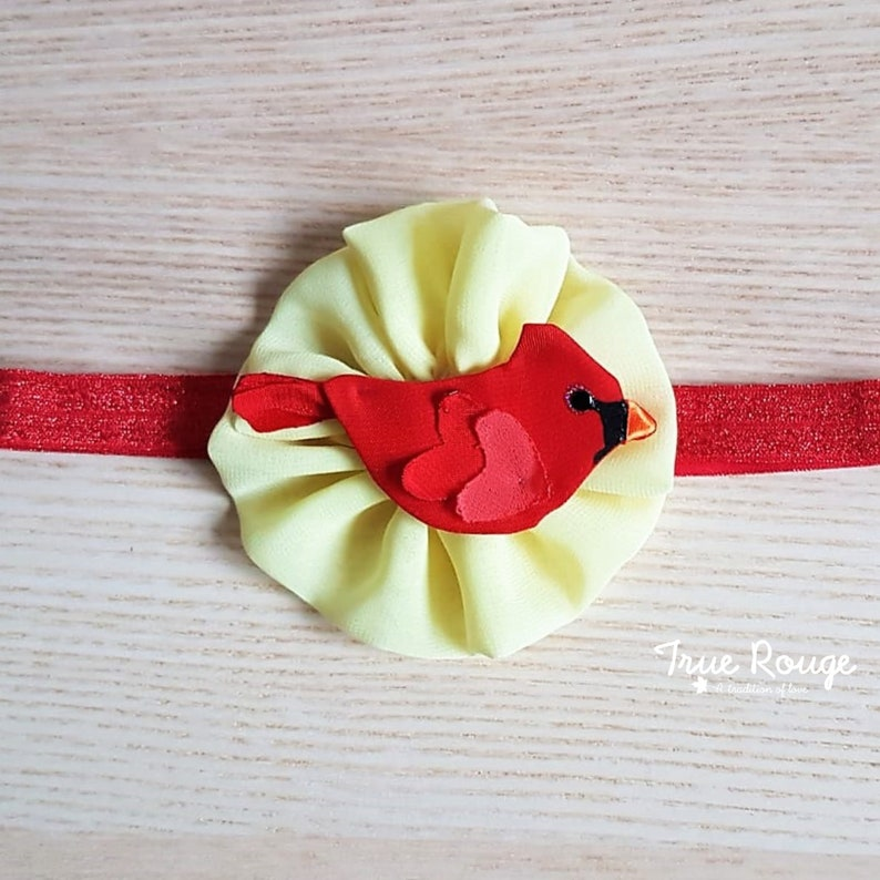 Nature-inspired little Cardinal bird Headband Hand Painted image 0