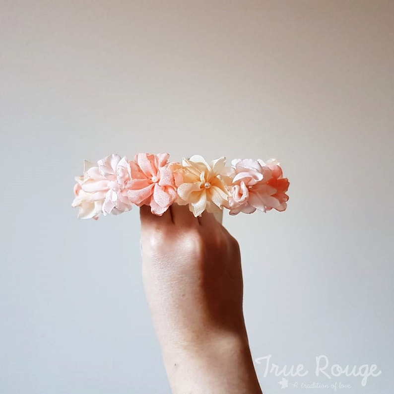 Itty Bitty Baby Flower crown ideal as gift or Bridesmaids Peach,Beige