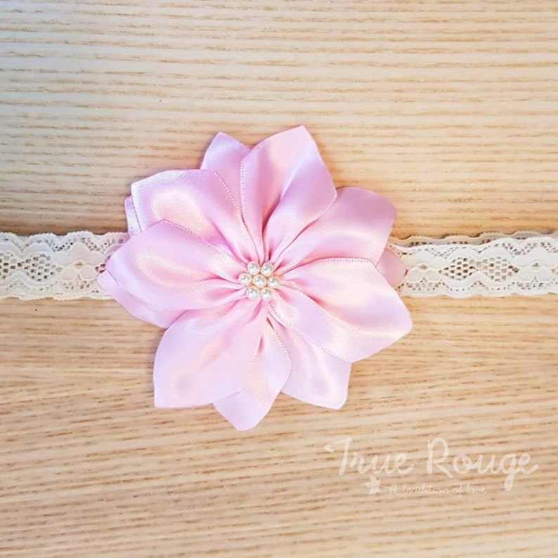 Handmade Fabric Flower Headband or Hair Clip for Baby Girls by image 0