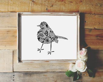 Black Bird Printable wall art, hand drawn art decor, instant download