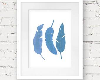 Feather printable art, digital leaf art, feather illustration, digital download, blue art print, feather print, minimal art instant download