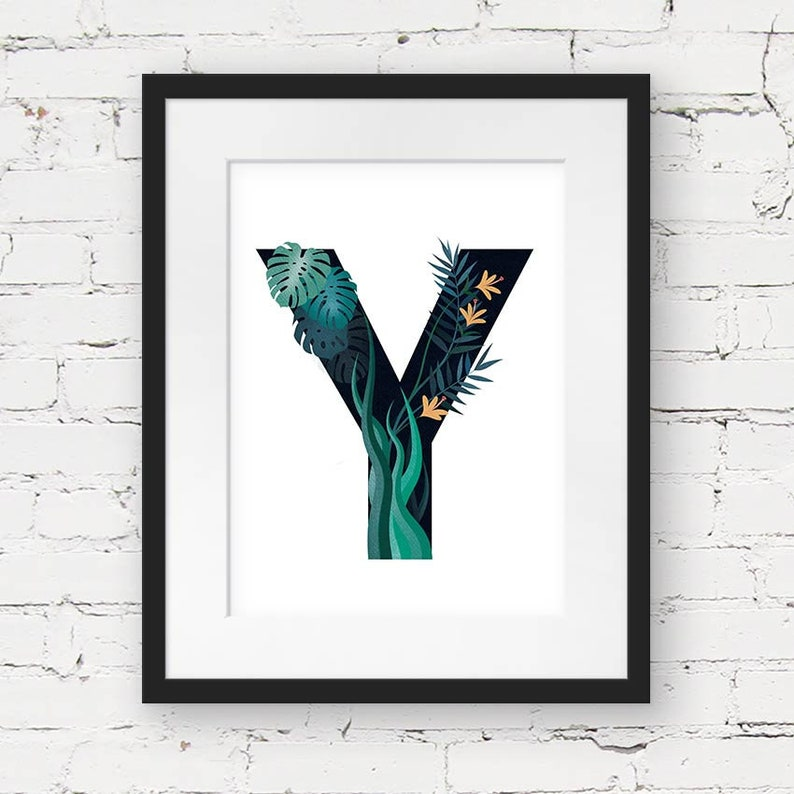 photo about Letter Y Printable named Letter Y Printable, monogram printable artwork, jungle nursery artwork, botanical nursery artwork print, prompt down load, jungle alphabet artwork print