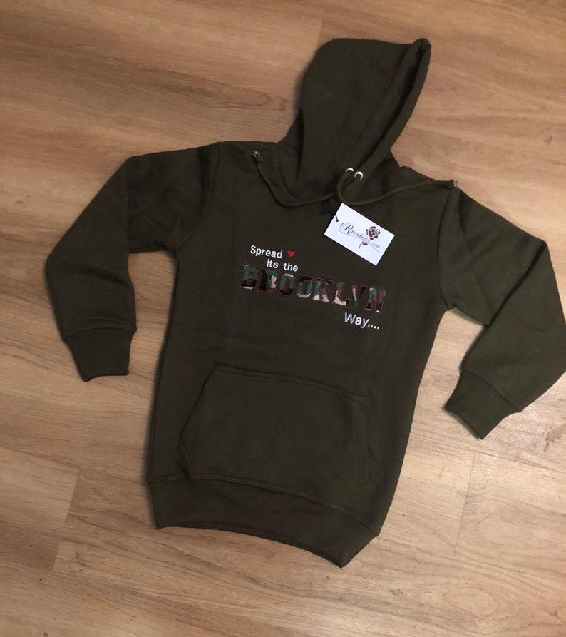 f45122ef4 Men custom pullover hoodie sweater Brooklyn biggie green army | Etsy