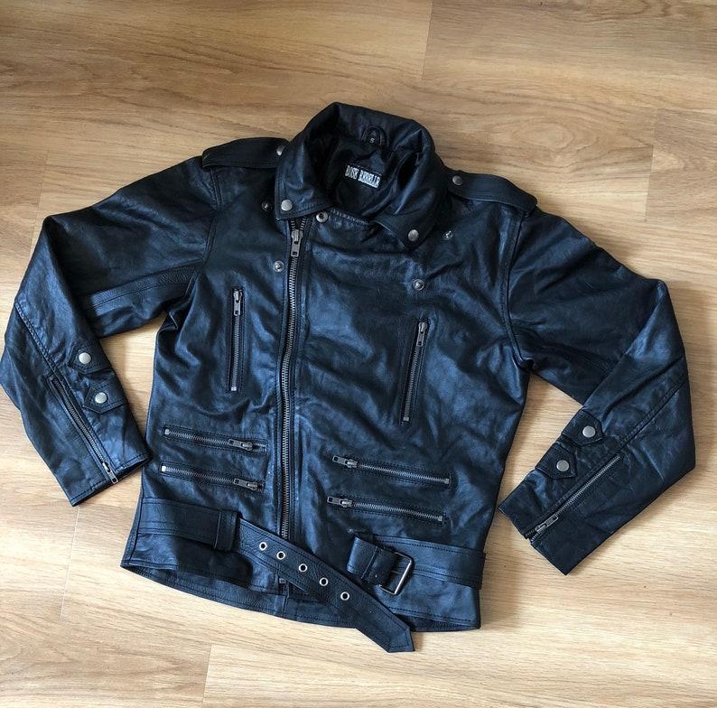 Black motorcycle biker men leather jacket