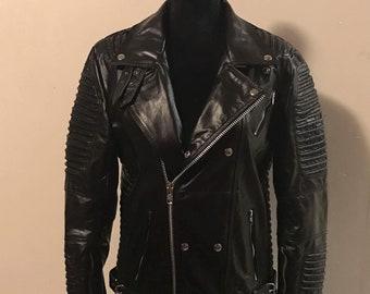 Men black biker motorcycle leather jacket coat