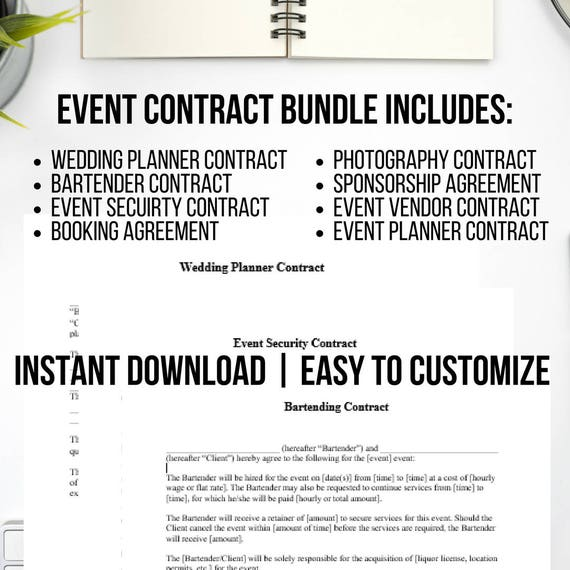 Event Planner Contract | 8 Piece Event Planning Contract Template Etsy