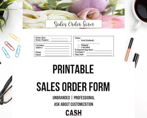 printable sales order form sales order form template etsy
