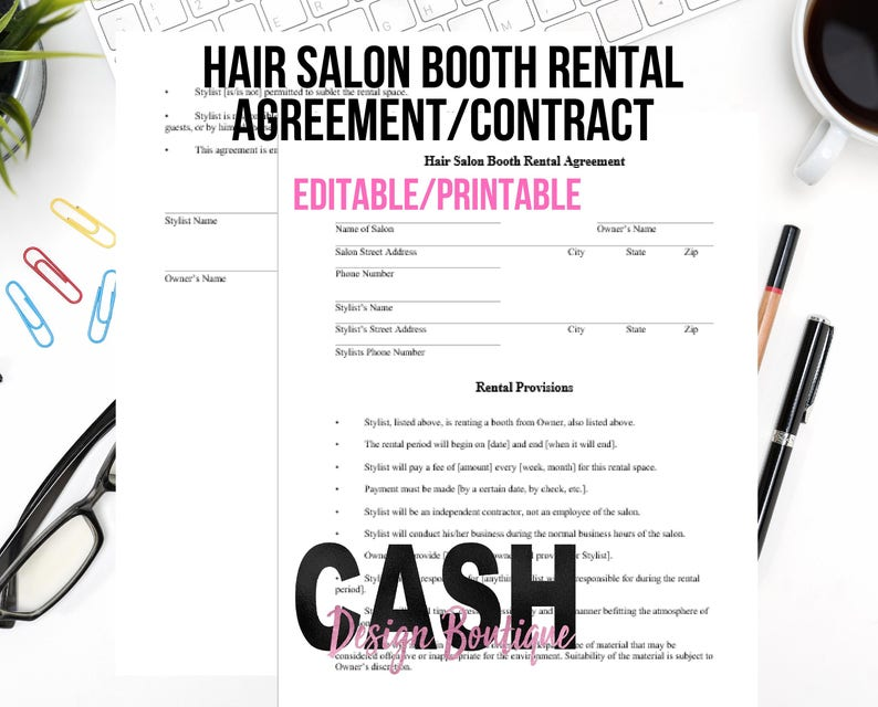 Hair Stylist Booth Rental Agreement/Contract | Letter Size | Instant  Download