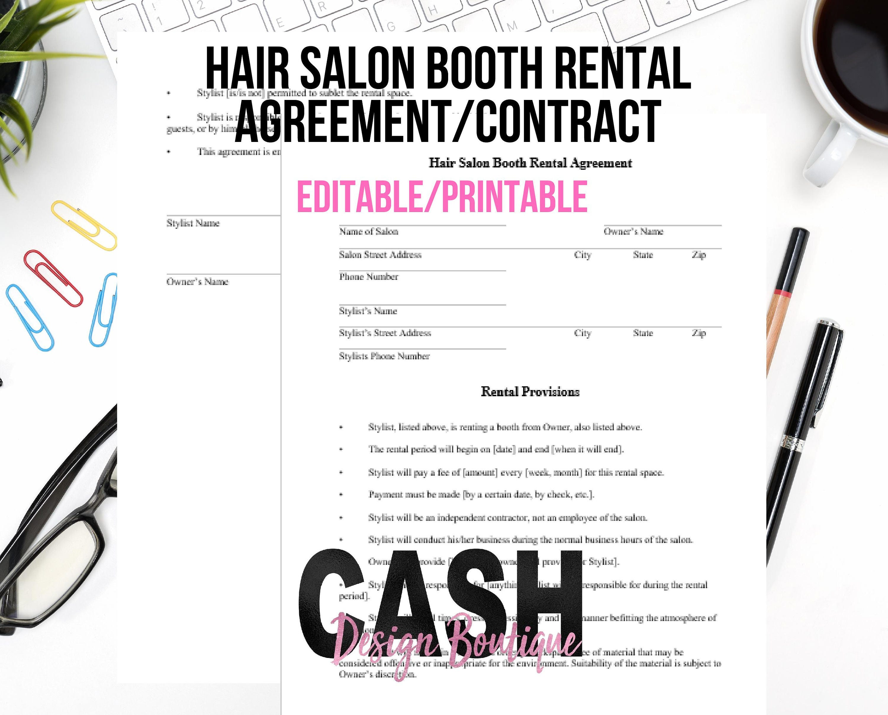 Hair Stylist Booth Rental Agreement Contract Letter Size Etsy