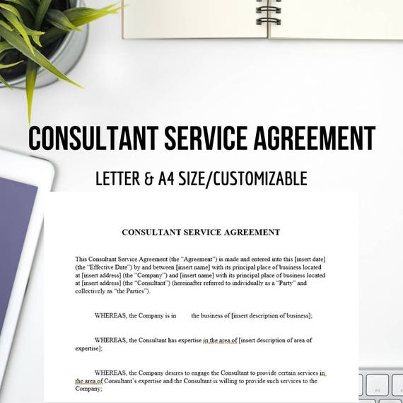 printable consultant agreement letter size a4 size etsy