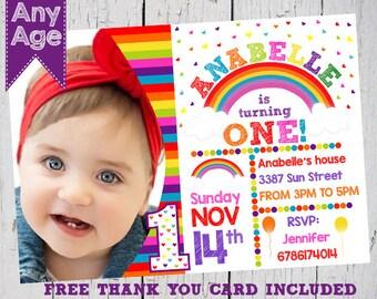Rainbow Birthday Invitation Rainbow Invitation Rainbow Party Magical Birthday Invitation Rainbow Photo Invitation 1st Birthday Girl Invite